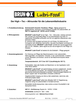 Brunox Lubri Food Datenblatt